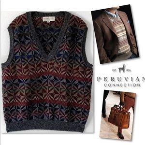 Peruvian Connection Sweaters - PERUVIAN CONNECTION ALPACA V NECK PREPPY VEST XL